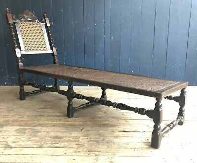 Antique Oak & Cane Day Bed Chaise Lounge Lounger Carved Steamer Chair DELIVERY*