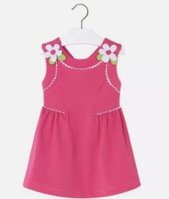 Mayoral Girls Fucsia Pink Dress 3962 Age 5 Years Rrp £37.50