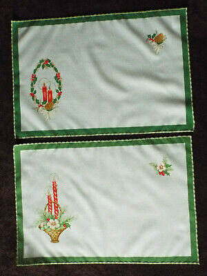 2 Christmas themed polycotton table mats or napkins, in red, white + green