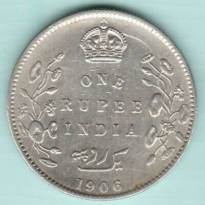 British India - 1906 - King Edward Vii - One Rupee - Rare Silver Coin