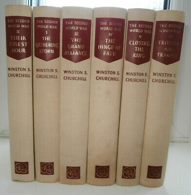 Vols 1-6 Winston Churchill The Second World War 1950's Reprint Society V Nice/Gd