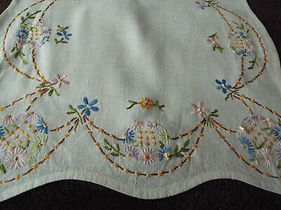 Beautiful old/vintage tray cloth hand embroidered with intricate floral border