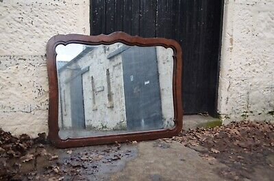Large Mahogany Victorian Wooden Framed Mantle Mirror With Distressed Plate