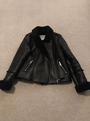 Girls Black Marks And Spencer's Faux Leather Jacket With Fur Trim Age 11-12