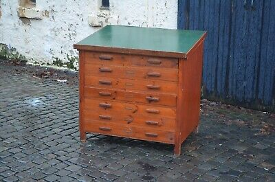 Mid Century 1950s Architects Map Plan Pine Chest Of Drawers With Slope Desk Top