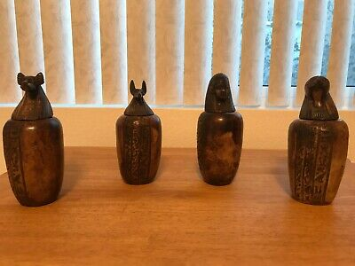 ANCIENT EGYPTIAN 4 Canopic Jars Statues