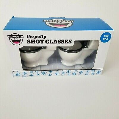 New BIGMOUTH INC Set of 2 The Potty Shot Glasses Ceramic Funny Gag Gift 1.5oz