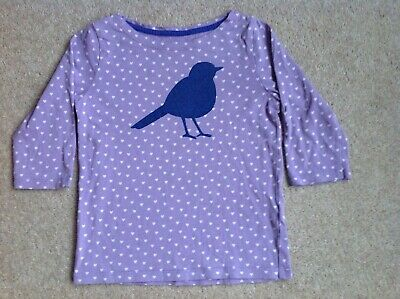 Girls Mini Boden Long Sleeve Lilac with White Hearts & Sparkly Bird Top Age 4-5
