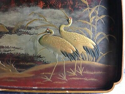 Japanese Meiji Era Maki-E Inlaid Lacquer Tray Hiramaki-E Takamaki-E Decoratation