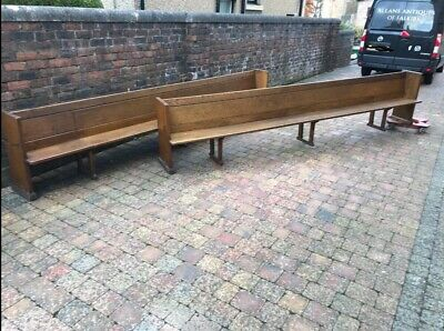 Pair Of Extra Large Antique Douglas Fir Wooden Church Pews Over 4m Long