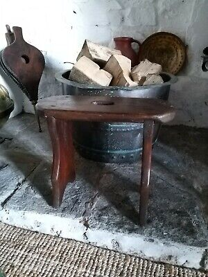 Primitive Boarded Stool early 19th Century Hearth Stool primitive