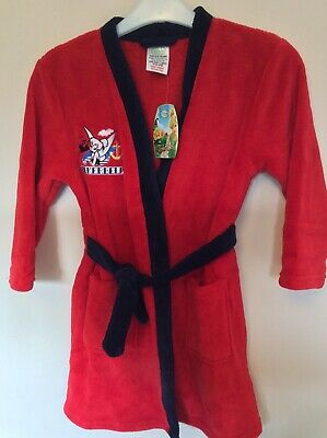 New With Tags Girls Tinkerbell Red Fleece Dressing Gown Size 5-6 Years