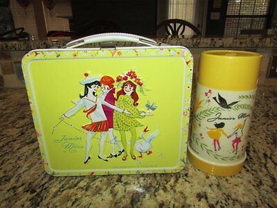 Vintage Rare Nice 1970 Yellow Junior Miss Lunchbox & Thermos
