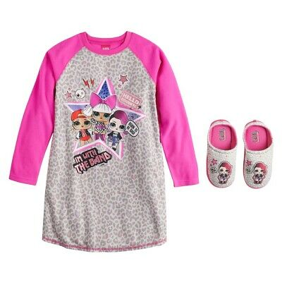 LOL Surprise Girls Size 4-5 Nightgown Pajama Sleep Gown & Slippers Shoe Set NEW