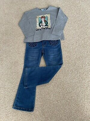 Mayoral Girls Boot Cut Jeans Grey Tshirt Top Outfit Age 4years Rrp £49.50