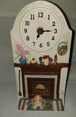 Mantlepiece Fireplace & Dog Design Ceramic Decorative Clock