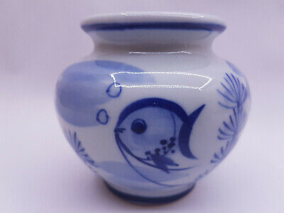 VINTAGE Chinese Oriental Glazed Porcelain Blue White Koi Carp Fish Bowl