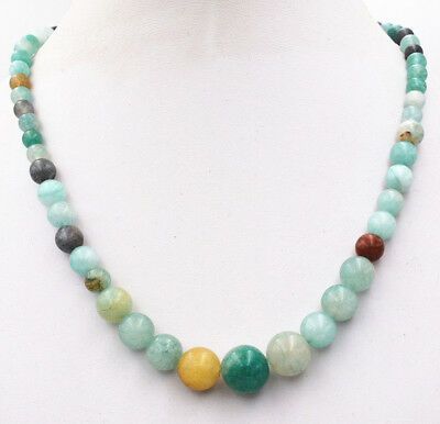 Natural 6-14mm Multi-color Amazonite Round Gemstone Beads Necklace 18''