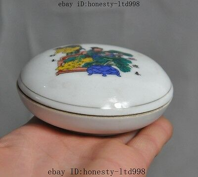 Marked Old China Chinese Wucai Porcelain Belle Art Man Woman Statue Box Boxes