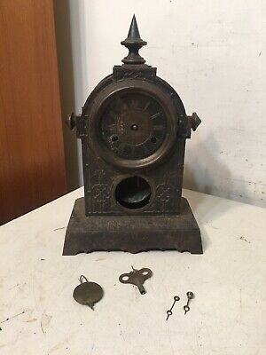 Antique Gothic Cast Iron Mantle Clock S E Root Movement Tucker Muller Style Case