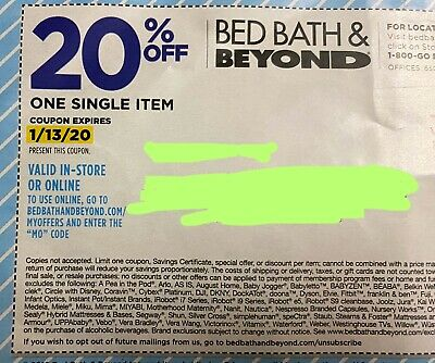 Bed Bath and Beyond 20% off exp Jan 13