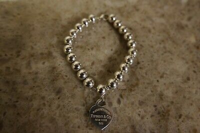 Tiffany & Co. Sterling Silver 8mm Big Bead Ball Bracelet With Heart Tag 7.5""