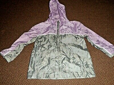 george pac a mac grey and lilac jacket / coat - girls 5 - 6 - 7 years