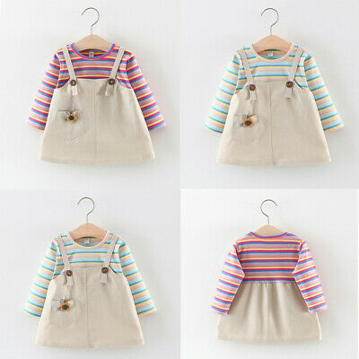 Casual Toddler Baby Kids Girls Rainbow Striped Floral Patchwork Dress Clothes