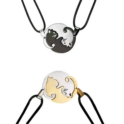 2Pcs Yin and Yang Cat Necklace Pendant Set Tai Chi Necklace Couples Friend Gifts