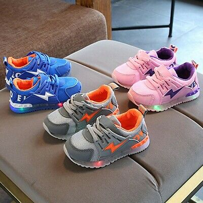 Children Kid Girl Boy Led Light Luminous Sport Mesh Sneakers Outdoor Casual Shoe