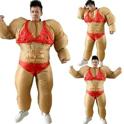 Inflatable Bodybuilder Chub Fat Suit Dress Christmas Party Costume Blower Set