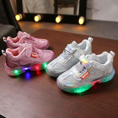 Children Kid Baby Girl Boy Letter Led Luminous Sport Run Sneakers Casual Shoes G