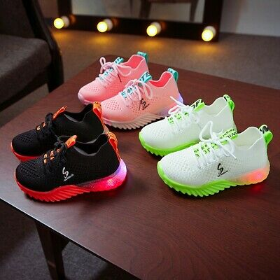 Children Kid Baby Girls Boys Letter Led Luminous Sport Run Sneakers Casual Shoes