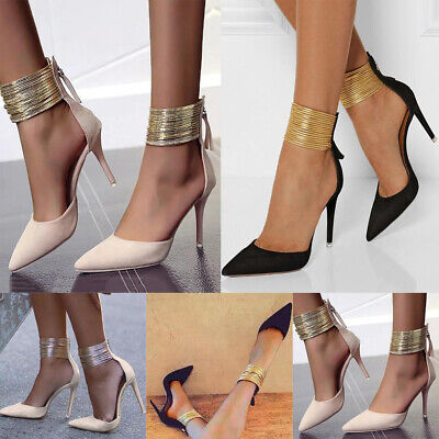 WOMENS LADIES ANKLE STRAPS POINTED TOE HIGH HEEL SHOES Office PARTY SHOES SIZE