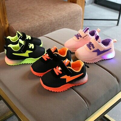 Children Baby Kid Girl Boy Breathable Mesh Led Luminous Casual Run Sneaker Shoes