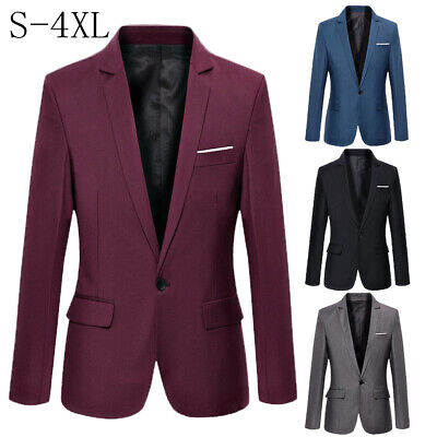 US Mens Casual Formal Slim Fit One Button Suit Blazer Business Coat Jacket Tops