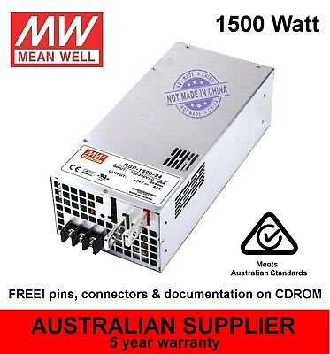 RSP-1500 Power Supply 1500W 5V 12V 15V 24V 27V 48V DC - MeanWell - 5 yr warranty