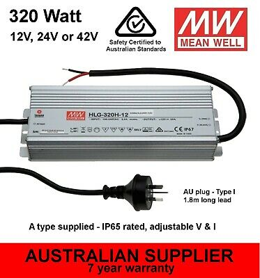 HLG-320H LED Power Supply 320W 12V/22A 24V/13A 48V/7A DC - MeanWell 7yr warranty