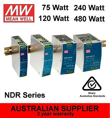 NDR-120-12, NDR-120-24, NDR-120-48 DIN Power Supply 120W 12V 24V 48V - MeanWell