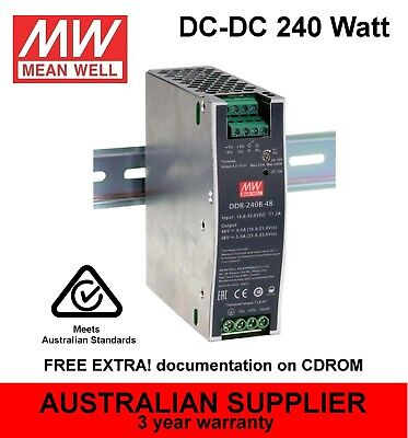 DDR-240 DC-DC converter 240W 24V 48V DIN Rail mount - MeanWell (expands to 960W)
