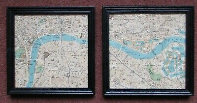 A matching pair of framed maps of London c1904