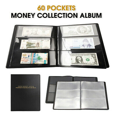 60Pockets Soft Leather Album Banknote Paper Money Collection Stamps Book Notes
