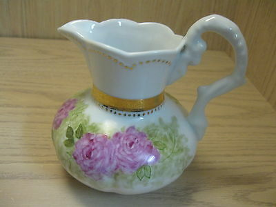 Pitcher Gold Designs Green Foliage Pink Roses Scallop Rim Fancy Handle 2002
