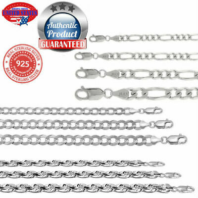 Sterling Silver Solid 925 Italian Rope curb figaro Chain Necklace bracelet