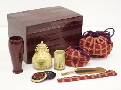 Tamenuri Lacquered Chabako (portable tea utensils box) Set 溜塗茶箱セット