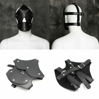 PU Leather Mask Open nose Mouth Gag Ball Hood Headgear Harness Roleplay Cosplay