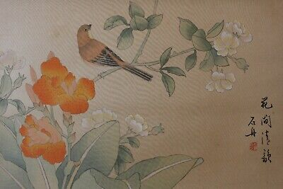 F02J7 ~Gorgeous Flowers & Cute Bird~ Chinese Hanging Scroll