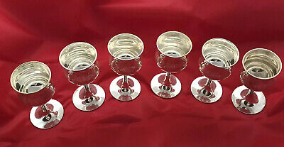 Beautiful Vintage Etched Goblets Silver Plated EPNS (6)