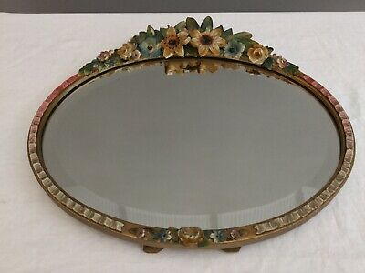 Antique Barbola Hand Painted Mirror Oval Gesso Frame Bevelled Glass Old Damaged