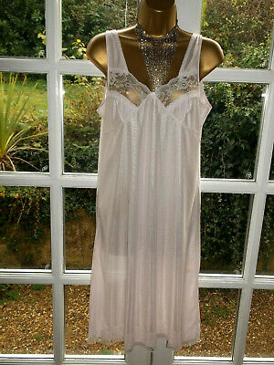 "Vintage 1980s Marlon Glossy Silky Sheer Scalloped Lacy Full Slip 38"" UK16"